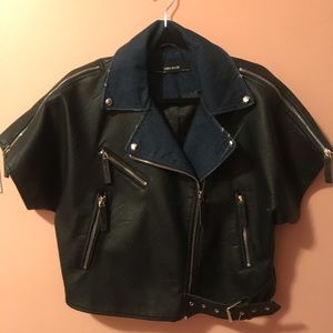Black Short Sleeve Zara Moto Jacket